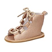 LNGRY Child Baby Girl Casual Sandals Bandage Cross-Tied Sole Crib Hollow Shoes (Gold, 3-6 Months)
