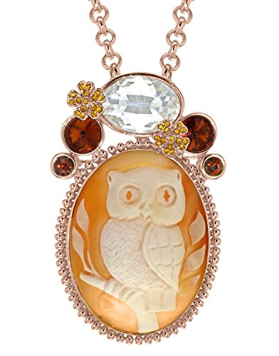 AMEDEO Collier avec Pendentif Ovale Coquillage Marron Femme