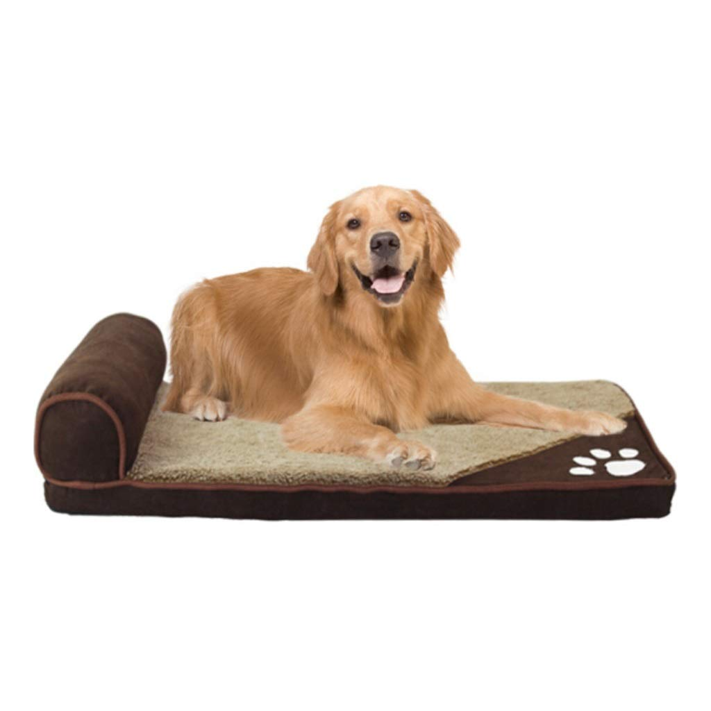 BROWN M BROWN M Mid West Deluxe Sofa-Style Couch Pet Bed for Dogs and Cats,Multiple Sizes and colors Available,Removable Waterproof Washable Non-Slip Cover (color   Brown, Size   M)