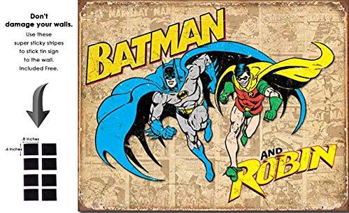 Shop72 DC Comic Serise Batman & Robin Metal Tin Sign Super Hero Retro Vintage Decor Home - - With Sticky Stripes . No Damage to Walls