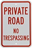 SmartSign 3M Engineer Grade Reflective Sign, Legend''Private Road - No Trespassing'', 18'' high x 12'' wide, Red on White
