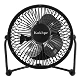 F401 Mini USB Table Desk Personal Fan (Metal Design, Quiet Operation 3.9' USB Cable, High Compatibility), Black
