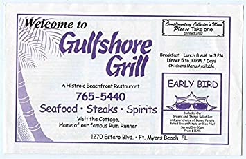 Amazon Com Gulfshore Grill Breakfast Lunch Dinner Menu