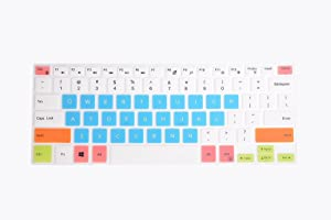 """Leze - Ultra Thin Keyboard Cover for 15.6"""" DELL XPS 15-9570 15-9550 15-9560, Precision 15-5510 M5510 Laptop - White Blue"""