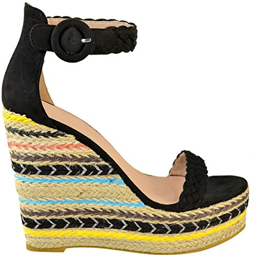 Faux Wedge Black Platforms Suede High Thirsty Black Sandals Heels Size Shoes Summer Ladies Fashion Party Womens wUqI6xnaSI