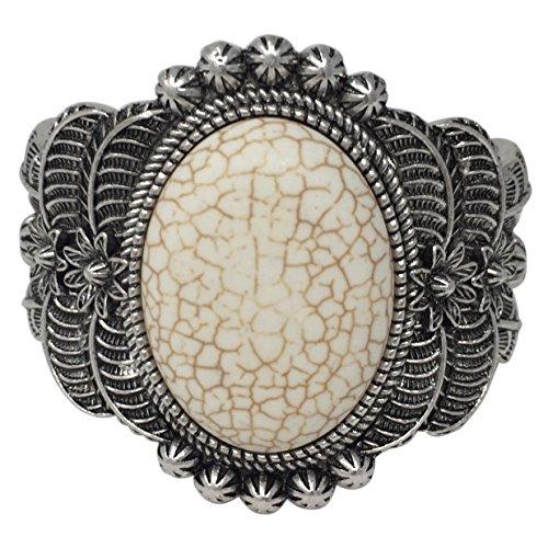 Western Style Silver Tone Wide Cuff Bracelet (Cream Stone)