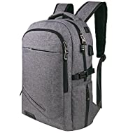 College Backpacks, Tzowla Anti-theft Slim Laptop Bacpack with USB Charging Port and lock Business Travel Lightweight Bag for Women Men Students Fits Under 17 In Laptops (Gray)