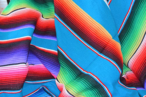 Galaxy Reborn Mexican Blanket All Acrylic Striped Serape in Turquoise XLarge Size 84 x 60 Premium Handwoven Blanket Yoga Blanket Tribal Rug Southwestern Native Rug Bohemian Decor Throw by Galaxy Reborn
