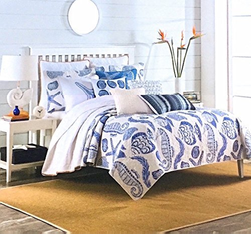 Ocean Treasures Queen Quilt Set - White with Large Navy Blue Coastal Seashells, Starfish, Seahorse Tropical Fish and Under Sea Plant Life - Reversible Cotton 3pc Set by Max Studio Home