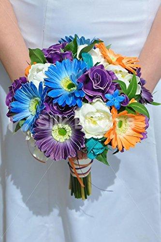 (Gorgeous Blue, Orange and Purple Gerbera Bridal Bouquet w/ Peonies and Stephanotis)