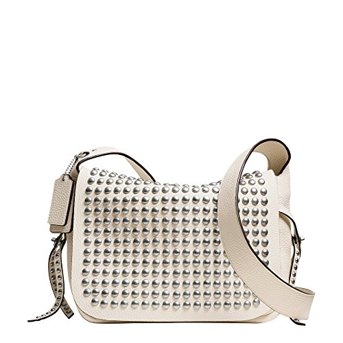 WR Coach Leather Cream Dakotah Crossbody Rivets Flaps 35764 YpYwqCv