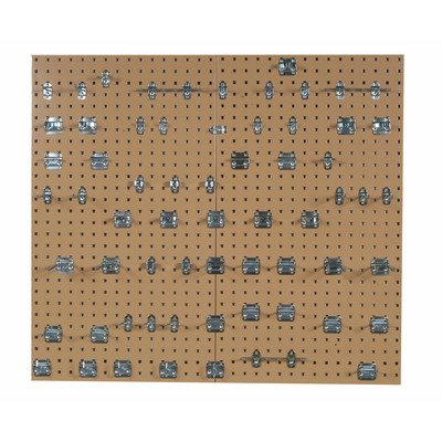 LocBoard LBS30L-SLV Epoxy 18 Gauge Steel Square Hole Pegboards with 63 Piece LocHook Assortment, 24 x 42-1/2 x 9/16'', Tan
