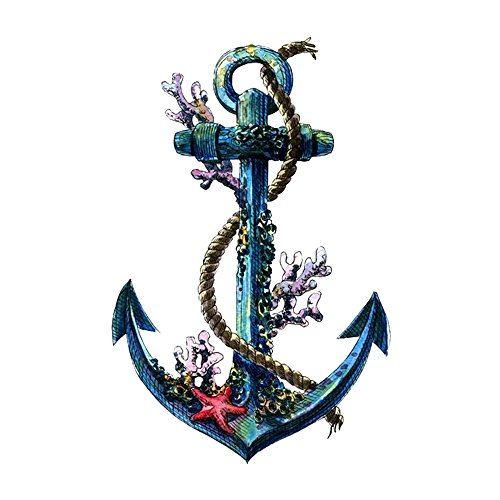 WYUEN 5 Sheets Waterproof Temporary Tattoo Anchor Tattoo Sticker For Women Men Body Art 9.8X6cm (Anchor Tattoos Women)