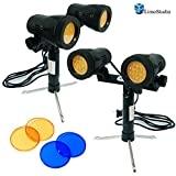 LimoStudio 2Pcs Double Head LED Light Set for Table Top Studio Portable Lighting Kit with 2 Colors Gel Filters Blue and Red, AGG1656