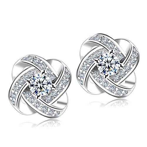 Mr.Macy Women Fashiomn Earing, Simple Fashion Diamond Eternal Star Flower Earrings Stud Earrings Women Jewelry (Sliver)