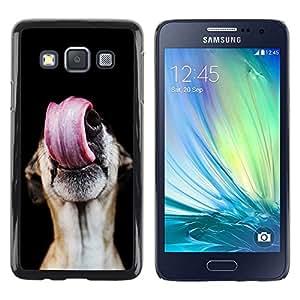 Be Good Phone Accessory // Dura Cáscara cubierta Protectora Caso Carcasa Funda de Protección para Samsung Galaxy A3 SM-A300 // Greyhound Tongue Lick Dog Mutt