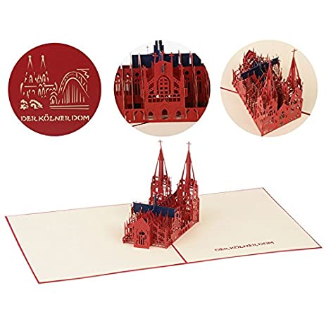 Amazon jzoeoeu cologne cathedral 3d greeting cards germany pop jzoeoeu cologne cathedral 3d greeting cards germany pop up travel anniversary card laser cut unique holiday m4hsunfo
