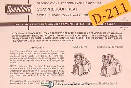 Dayton 2Z498, 2Z499 and 2Z630, Compressor Head, Specs, Performance and Part sList (Performance Part Spec)