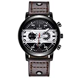 Mnyycxen Men Watches Luxury Sports Military Army Quartz Waterproof Wristwatch Calendar Date Stainless Steel Band Watch (Brown)