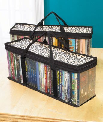Marvelous DVD Storage Organizer Leopard   Classic Set Of 2 Storage Bags With Room For  40 Dvds