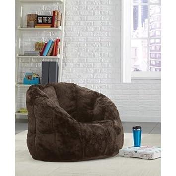 Cocoon Faux Fur Bean Bag Chair, Multiple Colors (Brown)