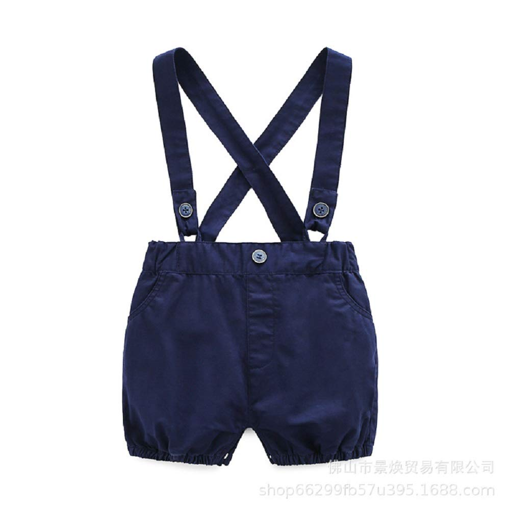 Short Sleeve Shirt+Bib Pants+Bow Tie Overalls Clothes Set KiKibaby Infant Baby Boys Gentleman Outfits Wedding Suits