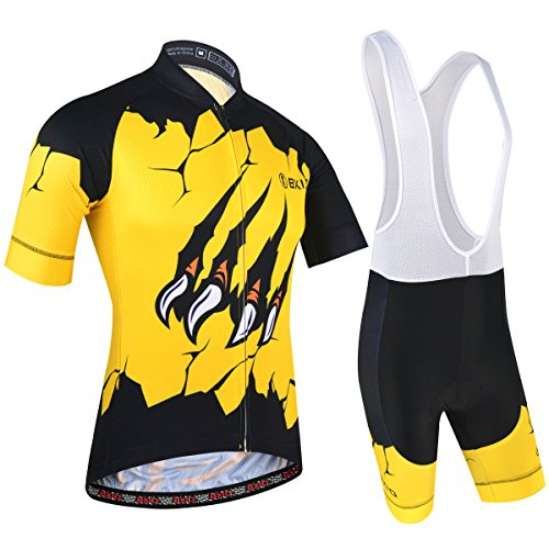 Men Cycling Clothing Set, Breathable Quick Dry Cycling Bibs and Jersey for Mountain Bike and Pro Team, Yellow, M
