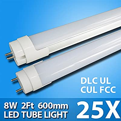 25 Pack - 2ft 8Watt T8 LED Tube 850lm with UL Approval Single End Power G13 Base