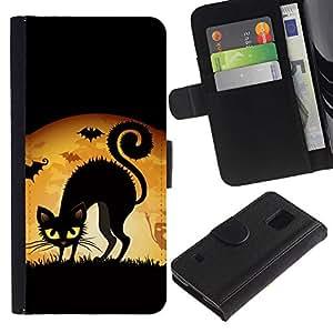 A-type (Bruja Gato Negro Luna Llena) Colorida Impresión Funda Cuero Monedero Caja Bolsa Cubierta Caja Piel Card Slots Para Samsung Galaxy S5 V SM-G900