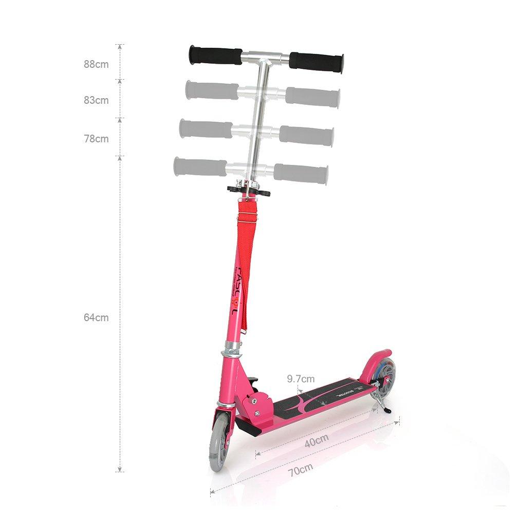 Fascol Freestyle Scooter Plegable de 2 Ruedas para Niños de 3 - 13 Años, Rueda Brillante, Patinete para Niños, Rosa