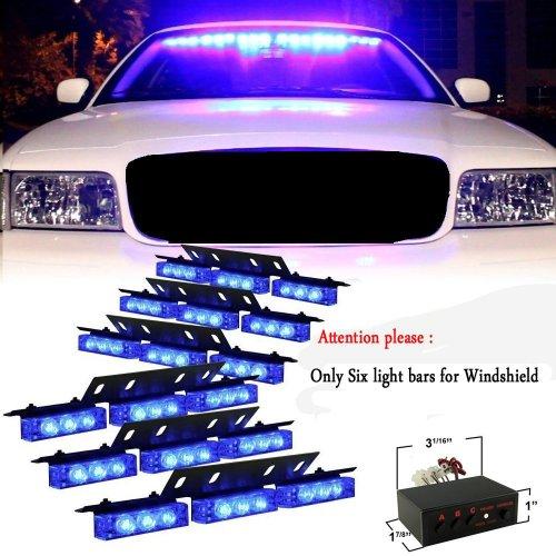 - 54 X LED Emergency Vehicle Strobe Lights for Front Grille Deck Warning Light (54 LED, Blue)