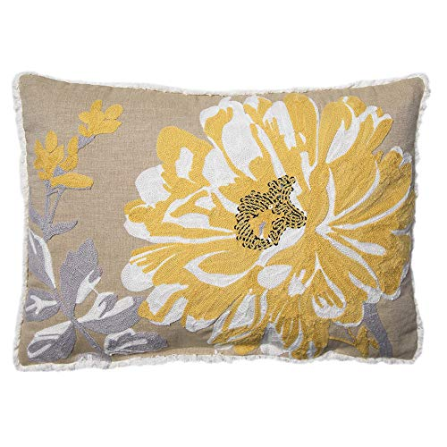 """Better Homes and Gardens Bold Bloom Accent Pillow, Yellow, 14"""" x 20"""" from Better Homes & Gardens"""