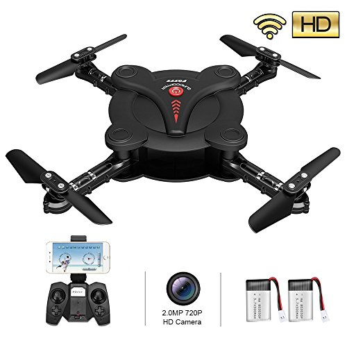 RC Quadcopter Drone with 2.0MP HD Camera Live Video and 2 Batteries Flexible Foldable Aerofoils Headless Mode One Key Return Altitude Hold 3D Flips 2.4G 4CH 6-Axis Gyro Gravity Sensor Helicopter