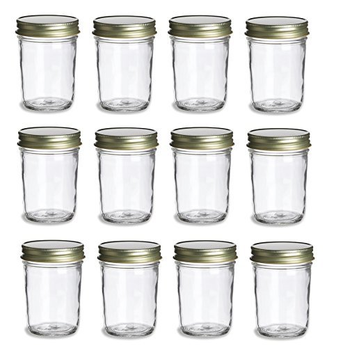 Nakpunar 12 pcs, 8 oz Mason Jars with Gold Lids