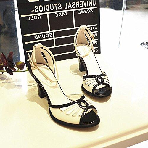 Poisson De Verges Avec High Shoeshaoge Simple Unie Sandales Du Femmes Creux Bouche Pour Talon Heels Grosses Chaussures Orteil La Fuite Couleur OvqqP0x