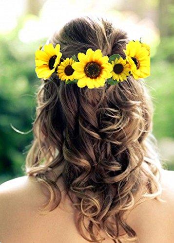 Bosheng Sunflower Crown Sunflower Hair Wreath Sunflower