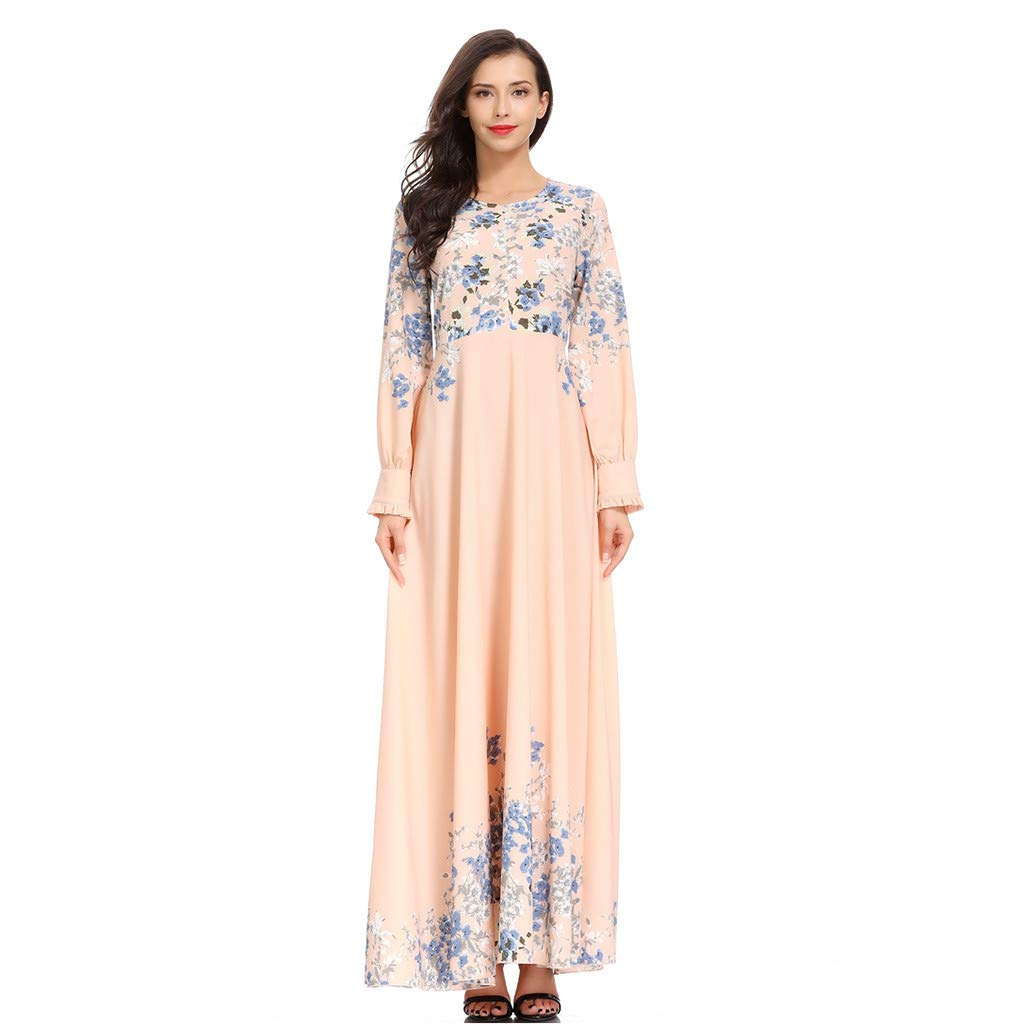 Women's Muslim Dress, Ladies Long Sleeve Islamic Arab Kaftan Casual Solid Floral Printed Maxi Dress Muslim Clothes by Cobcob Dress Clearance Sale! (Image #1)