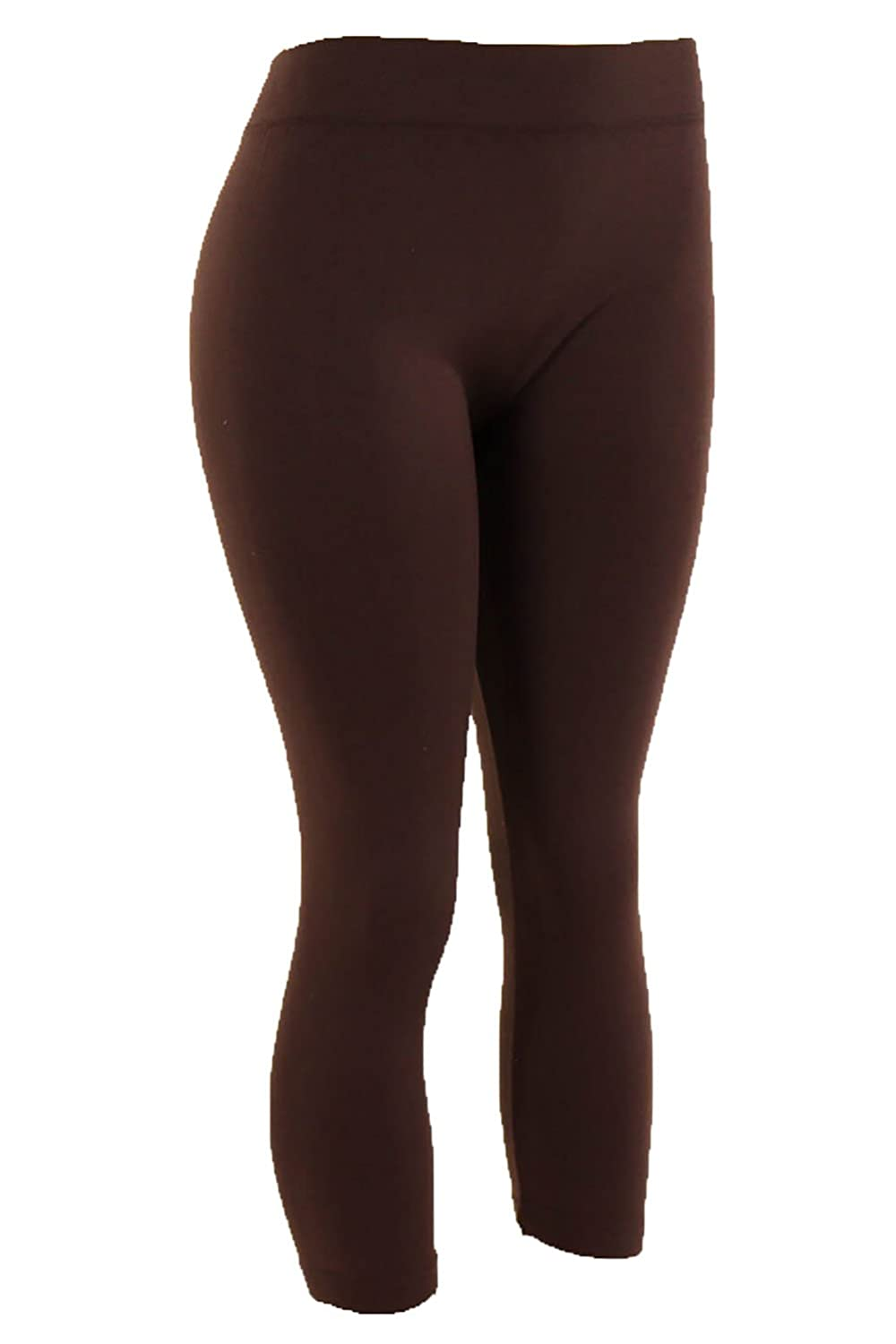 1552a4fe09 Sofra Women s Plus Size Cropped Capri Solid Leggings-Black at Amazon Women s  Clothing store