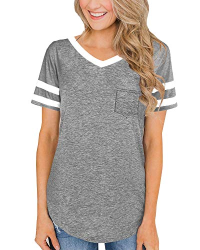 (Junior Plain T Shirts for Women Short Sleeve Loose Tees V Neck Baisc Tops Navy Grey XL)