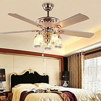 Modern Crystal Ceiling Fan Light For Living Room Bedroom With Premium Wood Blades And 5