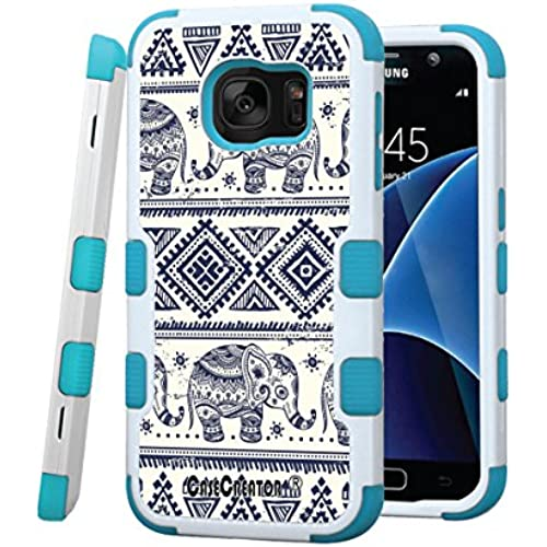 Galaxy S7 Case, CASECREATOR[TM] For Samsung Galaxy S7 / G930 (All Carrier)~NATURAL TUFF Hybrid Rubber Hard Snap-on Case Teal Blue White-Tribal Elephants Sales