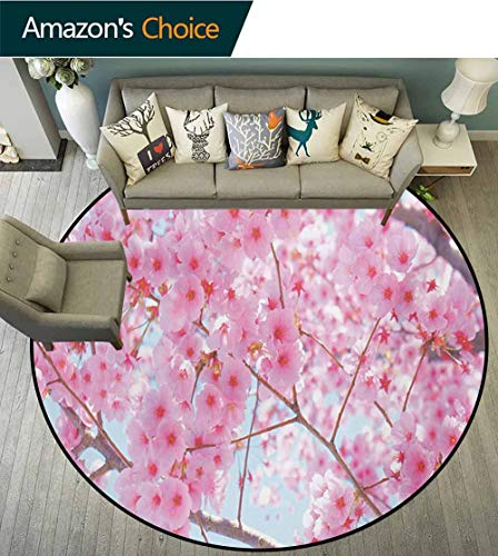 RUGSMAT Floral Round Area Rug,Japanese Sakura Florets Essence Nature Beauty Blossoms Refreshing Summer Picture Indoor/Outdoor Round Area Rug,Diameter-63 Inch Baby Pink