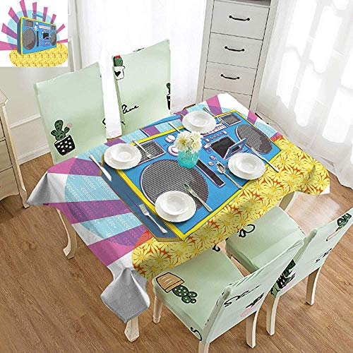 DILITECK Elegance Engineered Tablecloth 70s Party Decorations Retro Boom Box in Pop Art Manner Dance Music Colorful Composition Indoor Outdoor Camping Picnic W52 xL72 Multicolor