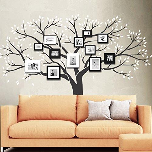 Wandora Wandtattoo 2-Farbiger Baum mit Blättern und Ästen I braun (BxH) 179 x 150 cm I Wohnzimmer Flur XXL Schlafzimmer Mehrfarbig W1358