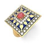 14K Yellow Gold (HallMarked), 0.24 cttw White Diamond (IJ | SI ) Ruby and Diamond Engagement Wedding Ring Size - 8