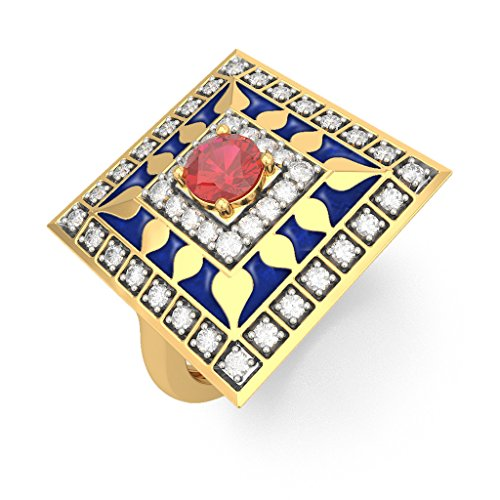 14K Yellow Gold (HallMarked), 0.24 cttw White Diamond (IJ | SI ) Ruby and Diamond Engagement Wedding Ring Size - 8 by PEACOCK JEWELS