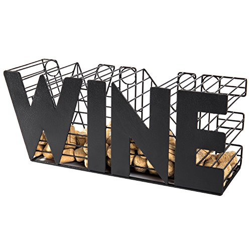 MyGift 14-Inch Decorative Metal Mesh WINE Cork Holder Basket, Black