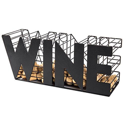 MyGift 14-Inch Decorative Metal Mesh WINE Cork Holder Basket, Black by MyGift