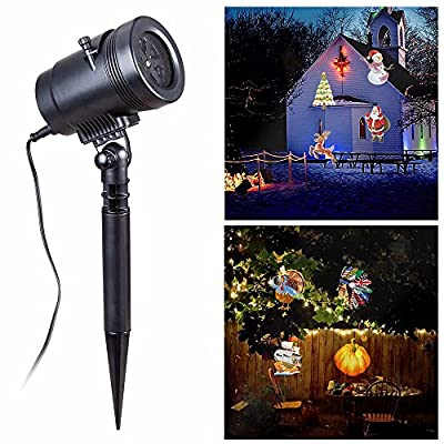 Christmas Projector Lights, Rotating Projection Led Lights,Spotlight -14 Replaceable Pattern Lens, Blinngo Colorful Moving LED Sparkling Landscape Projection Night Lamp,Waterproof for Wall Party