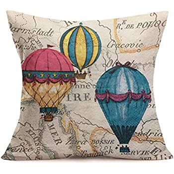 Fukeen Retro Cotton Linen Throw Pillow Cases Romantic Theme Hot Air Balloon with Inspirational Quotes for Home Sofa Decorations Square Cushion Cover 18x18 Inches